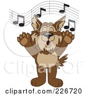 Royalty Free RF Clipart Illustration Of A Wolf School Mascot Singing by Toons4Biz