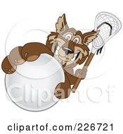 Wolf School Mascot Grabbing A Lacrosse Ball