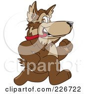 Royalty Free RF Clipart Illustration Of A Wolf School Mascot Running