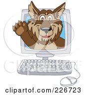 Wolf School Mascot Waving On A Computer Screen