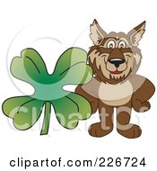 Royalty Free RF Clipart Illustration Of A Wolf School Mascot With A Four Leaf Clover