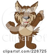 Royalty Free RF Clipart Illustration Of A Wolf School Mascot Pointing Upwards