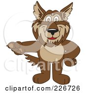 Royalty Free RF Clipart Illustration Of A Wolf School Mascot Pointing Left