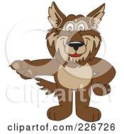 Wolf School Mascot Pointing Left