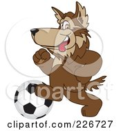 Royalty Free RF Clipart Illustration Of A Wolf School Mascot Playing Soccer