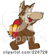 Royalty Free RF Clipart Illustration Of A Wolf School Mascot Walking To School
