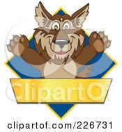 Royalty Free RF Clipart Illustration Of A Wolf School Mascot Over A Blue Diamond And Blank Gold Banner