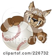 Royalty Free RF Clipart Illustration Of A Wolf School Mascot Grabbing A Baseball