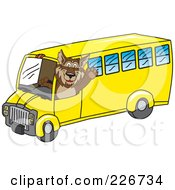 Royalty Free RF Clipart Illustration Of A Wolf School Mascot Waving And Driving A School Bus