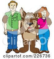 Royalty Free RF Clipart Illustration Of A Wolf School Mascot With Adults