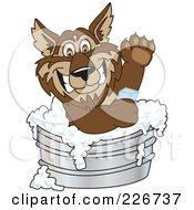 Wolf School Mascot Bathing With Soap In A Metal Tub