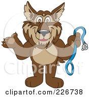 Wolf School Mascot Holding A Leash