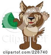Wolf School Mascot Holding Money