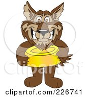 Royalty Free RF Clipart Illustration Of A Wolf School Mascot Holding A Food Bowl