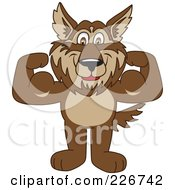 Royalty Free RF Clipart Illustration Of A Wolf School Mascot Flexing