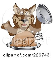 Royalty Free RF Clipart Illustration Of A Wolf School Mascot Serving A Thanksgiving Turkey
