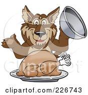 Wolf School Mascot Serving A Thanksgiving Turkey