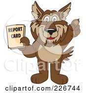 Wolf School Mascot Holding A Report Card