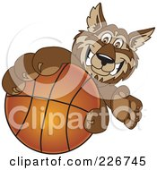 Royalty Free RF Clipart Illustration Of A Wolf School Mascot Grabbing A Basketball