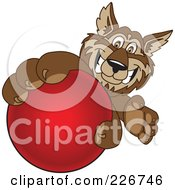 Royalty Free RF Clipart Illustration Of A Wolf School Mascot Grabbing A Red Ball