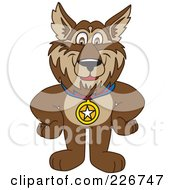 Royalty Free RF Clipart Illustration Of A Wolf School Mascot Wearing A Medal