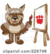 Royalty Free RF Clipart Illustration Of A Wolf School Mascot Painting A Paw Print On Canvas