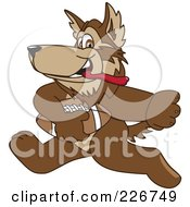 Royalty Free RF Clipart Illustration Of A Wolf School Mascot Playing Football