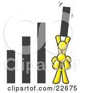 Clipart Illustration Of A Yellow Man On Another Mans Shoulders Holding Up A Bar In A Graph by Leo Blanchette