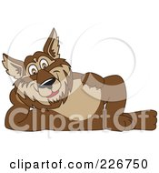Royalty Free RF Clipart Illustration Of A Wolf School Mascot Reclined