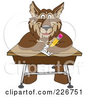 Royalty Free RF Clipart Illustration Of A Wolf School Mascot Writing On A Desk