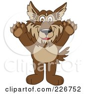 Royalty Free RF Clipart Illustration Of A Wolf School Mascot Holding His Paws Up by Toons4Biz