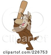 Royalty Free RF Clipart Illustration Of A Wolf School Mascot Playing Baseball