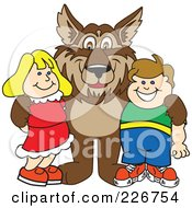 Royalty Free RF Clipart Illustration Of A Wolf School Mascot With Students