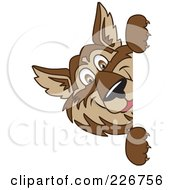 Royalty Free RF Clipart Illustration Of A Wolf School Mascot Looking Around A Blank Sign by Toons4Biz