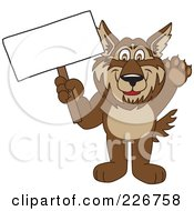 Royalty Free RF Clipart Illustration Of A Wolf School Mascot Holding A Blank Sign by Toons4Biz