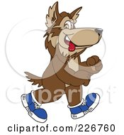 Royalty Free RF Clipart Illustration Of A Wolf School Mascot Walking In Shoes