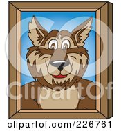 Royalty Free RF Clipart Illustration Of A Wolf School Mascot Portrait by Toons4Biz