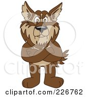 Royalty Free RF Clipart Illustration Of A Wolf School Mascot Standing With His Arms Crossed by Toons4Biz