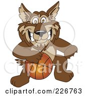 Royalty Free RF Clipart Illustration Of A Wolf School Mascot Playing Basketball