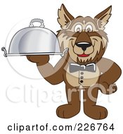 Royalty Free RF Clipart Illustration Of A Wolf School Mascot Waiter Serving A Platter