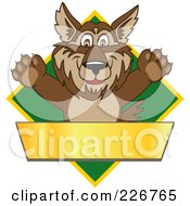Wolf School Mascot Over A Green Diamond And Blank Gold Banner