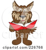 Royalty Free RF Clipart Illustration Of A Wolf School Mascot Reading A Book by Toons4Biz