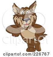 Royalty Free RF Clipart Illustration Of A Wolf School Mascot Leaning by Toons4Biz