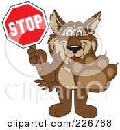 Royalty Free RF Clipart Illustration Of A Wolf School Mascot Holding A Stop Sign