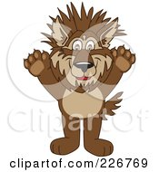 Royalty Free RF Clipart Illustration Of A Wolf School Mascot With Spiked Hair
