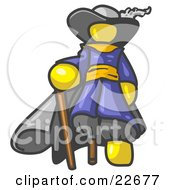 Clipart Illustration Of A Yellow Male Pirate With A Cane And A Peg Leg