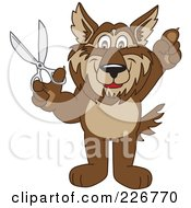 Royalty Free RF Clipart Illustration Of A Wolf School Mascot Holding Scissors by Toons4Biz
