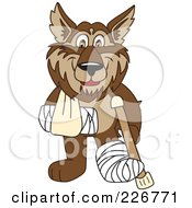 Royalty Free RF Clipart Illustration Of A Wolf School Mascot With A Sling Cast And Crutch by Toons4Biz