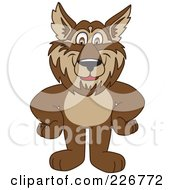 Royalty Free RF Clipart Illustration Of A Wolf School Mascot Standing With His Hands On His Hips by Toons4Biz