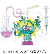 Royalty Free RF Clipart Illustration Of A Mutant Toad Emerging From A Beaker In A Science Lab by Zooco